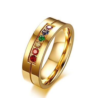 billige Motering-Herre Dame Band Ring 1pc Sølv Rustfritt Stål Fuskediamant Fargerik Bryllup Fest Smykker Regnbue