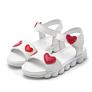 저렴한 아동 샌달-여아 플라워 걸 신발 PU 샌들 유아 (9m-4ys) / 어린 아이들 (4-7ys) / 빅 키즈 (7 년 +) 워킹화 화이트 / 핑크 여름 / 고무