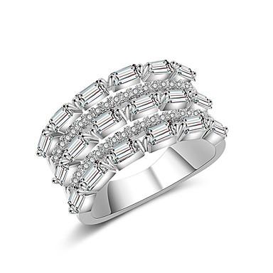 voordelige Dames Sieraden-Dames Bandring Ring Eternity Ring Zirkonia 1pc Zilver Koper Stijlvol Artistiek Feest Verloving Sieraden X-ring Cool