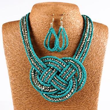 สำหรับผู้หญิง สีเขียว คริสตัล Drop Earrings สร้อยคอ ถัก ปม ต่างหู เครื่องประดับ ขาว / สีดำ / ฟ้า สำหรับ ทุกวัน 1set