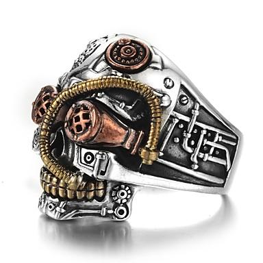 สำหรับผู้ชาย แหวน 1pc สีเงิน โลหะผสม Punk ทุกวัน เครื่องประดับ Skull เวรัส