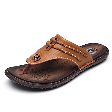 Ανδρικά Δερμάτινα παπούτσια Δερμάτινο Καλοκαίρι Καθημερινό Παντόφλες & flip-flops Περπάτημα Αναπνέει Μαύρο / Κίτρινο / Σκούρο μπλε