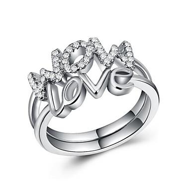 billige Motering-Dame Statement Ring Ring Kubisk Zirkonium 1pc Hvit Kobber Geometrisk Form Luksus Unikt design Europeisk Fest Gave Smykker Klassisk Bokstaver Kul