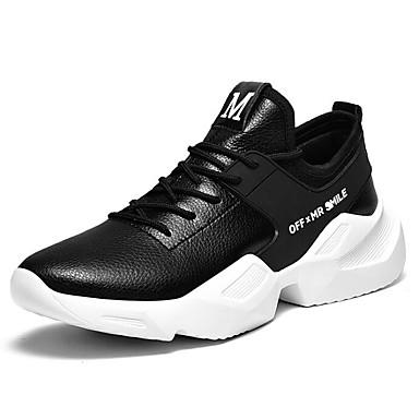 สำหรับผู้ชาย รองเท้าสบาย ๆ Microfibre ฤดูใบไม้ร่วง & ฤดูหนาว รองเท้ากีฬา สำหรับวิ่ง สีดำ / สีดำและสีขาว / ขาว
