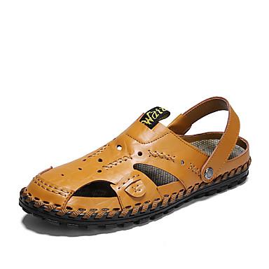 สำหรับผู้ชาย รองเท้าสบาย ๆ หนัง ฤดูร้อนฤดูใบไม้ผลิ คลาสสิก / ไม่เป็นทางการ รองเท้าแตะ ไม่ลื่นไถล สีดำ / สีน้ำตาล / ฟ้า / กลางแจ้ง