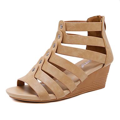 สำหรับผู้หญิง รองเท้าแตะ รองเท้าส้นตึก ปลายกลม หนังเทียม ไม่เป็นทางการ / หวาน ฤดูร้อนฤดูใบไม้ผลิ สีดำ / Almond / สีน้ำตาล