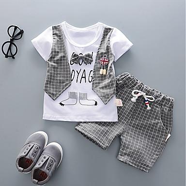 cheap Boys' Clothing Sets-Toddler Boys' Boho Check Short Sleeve Clothing Set Red