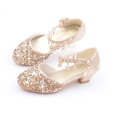 preiswerte Schuhe für Kinder-Mädchen Komfort / Schuhe für das Blumenmädchen PU High Heels Kleinkind (9m-4ys) / Kleine Kinder (4-7 Jahre) / Große Kinder (ab 7 Jahren) Walking Paillette Gold / Silber / Rosa Sommer / Gummi