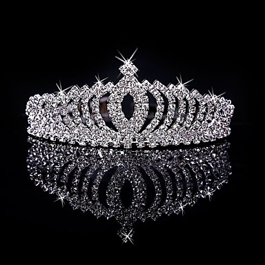 cheap Hair Jewelry-Women's Girls' Tiaras For Casual Prom Party & Evening Birthday Homecoming Royalty Crystal / Rhinestone Silver Plated Alloy Silver
