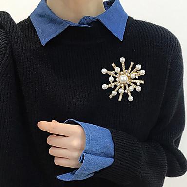 levne Dámské šperky-Dámské Kubický zirkon Brože stylové Perly Brož Šperky Zlatá Pro Svatební Zásnuby Dar Street Kancelář a kariéra