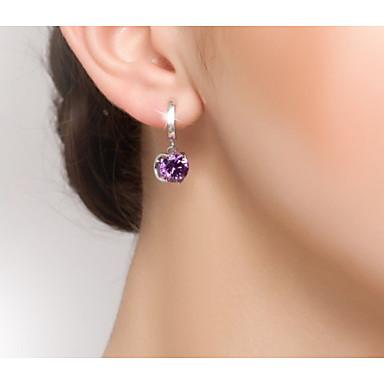 สำหรับผู้หญิง สีม่วง ล้าง สีบานเย็น สังเคราะห์ทับทิม Drop Earrings แฟนซี ความรัก วินเทจ หวาน สไตล์น่ารัก S925 เงินสเตอร์ลิง ต่างหู เครื่องประดับ สีเบจ / สีขาว / สีม่วง / สีบานเย็น สำหรับ / 1 คู่