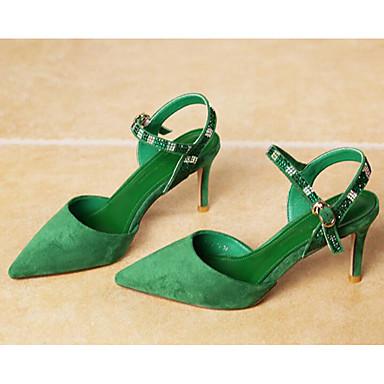 สำหรับผู้หญิง รองเท้าแตะ ส้น Stiletto Synthetics ฤดูร้อน สีดำ / สีเขียว