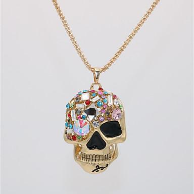 levne Pánské šperky-Pánské Dámské Náhrdelníky s přívěšky Prohlášení Náhrdelníky Náhrdelník Klasika Lebka Prohlášení Jedinečný design Punk Rokové Pozlacené Sklo Chrome Zlatá 70 cm Náhrdelníky Šperky 1ks Pro Halloween