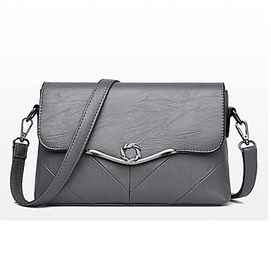 สำหรับผู้หญิง กระดุม PU Crossbody Bag สีทึบ สีดำ / สีม่วง / สีน้ำเงิน / ฤดูใบไม้ร่วง & ฤดูหนาว