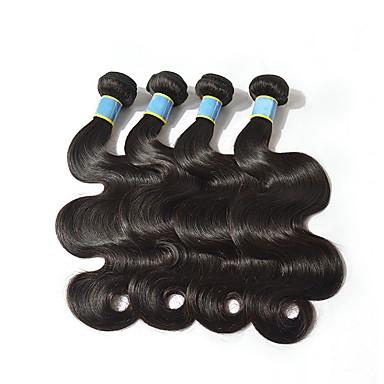 povoljno Ekstenzije od ljudske kose-4 paketića Brazilska kosa Tijelo Wave Remy kosa Ljudska kosa Headpiece Ljudske kose plete Produžetak 8-28 inch Prirodna boja Isprepliće ljudske kose Kreativan Nježno Novi Dolazak Proširenja ljudske