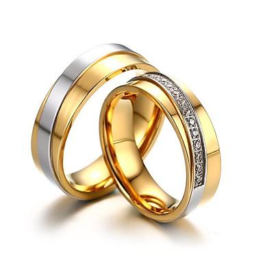 สำหรับคู่รัก แหวนคู่ Cubic Zirconia 2pcs สีทอง เหล็กกล้าไร้สนิม ทองชุบ Stylish คลาสสิก การหมั้น คำมั่นสัญญา เครื่องประดับ