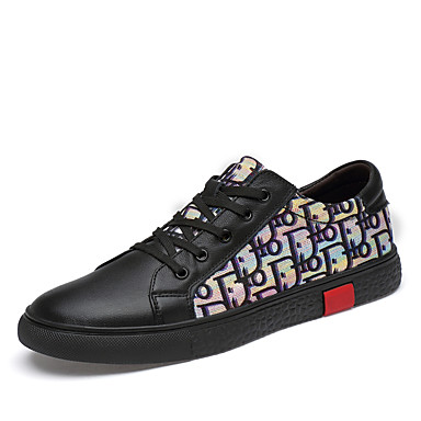 สำหรับผู้ชาย รองเท้าสบาย ๆ หนัง ฤดูใบไม้ผลิ / ตก Sporty / ไม่เป็นทางการ รองเท้าผ้าใบ ไม่ลื่นไถล สีดำ / ขาว / การกรีฑา