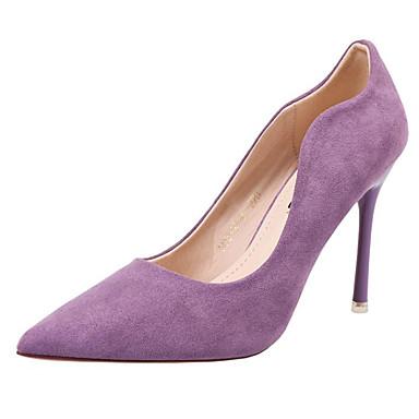 สำหรับผู้หญิง รองเท้าส้นสูง ส้น Stiletto หนังนิ่ม ฤดูใบไม้ผลิ สีดำ / สีม่วง / พรรคและเย็น / ทุกวัน / พรรคและเย็น