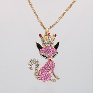 levne Dámské šperky-Dámské Náhrdelníky s přívěšky Prohlášení Náhrdelníky Náhrdelník Klasika Dláždit Liška Zvíře Jedinečný design Moderní Módní Pozlacené Chrome Růžová 70 cm Náhrdelníky Šperky 1ks Pro Karneval Dovolen