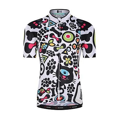 Malciklo เด็กผู้ชาย เด็กผู้หญิง แขนสั้น Cycling Jersey - สำหรับเด็ก ขาว การ์ตูน จักรยาน Tops ขี่จักรยานปีนเขา Road Cycling ทน UV ระบายอากาศ Moisture Wicking กีฬา Terylene เสื้อผ้าถัก / แห้งเร็ว / ยืด