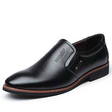 สำหรับผู้ชาย รองเท้าอย่างเป็นทางการ Microfibre ฤดูร้อนฤดูใบไม้ผลิ ธุรกิจ รองเท้าส้นเตี้ยทำมาจากหนังและรองเท้าสวมแบบไม่มีเชือก วสำหรับเดิน ไม่ลื่นไถล รองเท้าบู้ทหุ้มข้อ สีดำ / สีน้ำตาล