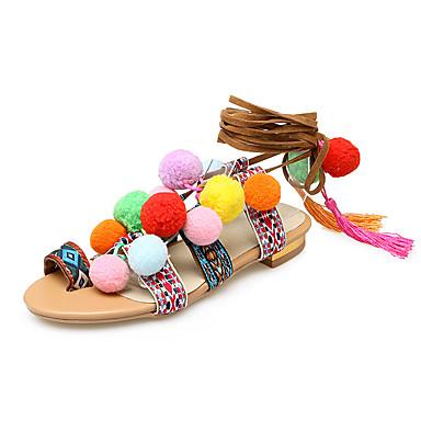 สำหรับผู้หญิง รองเท้าแตะ ส้นแบน เปิดนิ้ว PU คลาสสิก / minimalism ฤดูร้อนฤดูใบไม้ผลิ สีเหลือง / ผ้าขนสัตว์สีธรรมชาติ