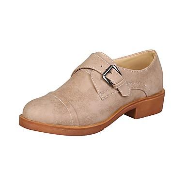 สำหรับผู้หญิง รองเท้าส้นเตี้ยทำมาจากหนังและรองเท้าสวมแบบไม่มีเชือก Block Heel ปลายกลม หัวเข็มขัด PU วินเทจ / อังกฤษ ฤดูร้อนฤดูใบไม้ผลิ สีดำ / สีเขียว / สีน้ำตาลอ่อน / ทุกวัน