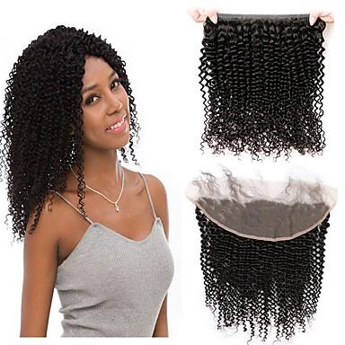 povoljno Ekstenzije od ljudske kose-1 paket Brazilska kosa Kinky Curly 100% Remy kose tkanja Bundle Ljudske kose plete Ekstenzije od ljudske kose 8-20inch Prirodna boja Isprepliće ljudske kose novorođenče Waterfall Sladak Proširenja