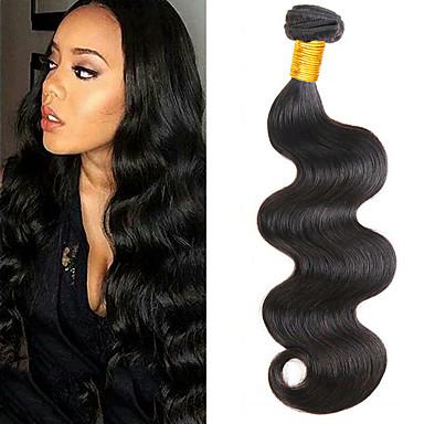povoljno Ekstenzije od ljudske kose-6 paketića Brazilska kosa Tijelo Wave Remy kosa Headpiece Ljudske kose plete Bundle kose 8-28 inch Prirodna boja Isprepliće ljudske kose Nježno Jednostavan dressing Najbolja kvaliteta Proširenja