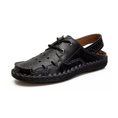 สำหรับผู้ชาย รองเท้าสบาย ๆ หนัง / PU ฤดูร้อน ไม่เป็นทางการ รองเท้าแตะ ไม่ลื่นไถล สีดำ / สีเหลือง / สีน้ำตาล
