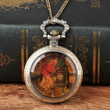 levne Pánské-Pánské Kapesní hodinky Křemenný Brązowy Hodinky na běžné nošení Velký ciferník Analogové Květina Vintage - Hnědá