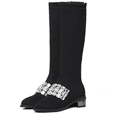 preiswerte Damenschuhe-Damen Stiefel Kniehohe Stiefel Blockabsatz Wildleder Kniehohe Stiefel Herbst Winter Schwarz