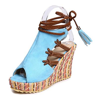สำหรับผู้หญิง รองเท้าแตะ รองเท้าส้นตึก ที่สวมนิ้วเท้า พู่ PU ฤดูร้อน ส้ม / ฟ้า / ผ้าขนสัตว์สีธรรมชาติ