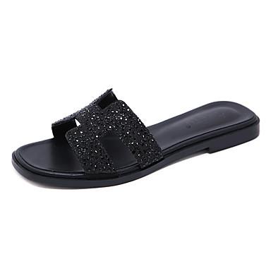 สำหรับผู้หญิง รองเท้าแตะและรองเท้าแตะ ส้นแบน Square Toe หินประกาย PU ไม่เป็นทางการ / หวาน ฤดูร้อนฤดูใบไม้ผลิ สีดำ / สีเทา / ลายบล็อคสี