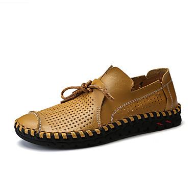 สำหรับผู้ชาย รองเท้าสบาย ๆ PU ฤดูร้อนฤดูใบไม้ผลิ ไม่เป็นทางการ รองเท้าส้นเตี้ยทำมาจากหนังและรองเท้าสวมแบบไม่มีเชือก วสำหรับเดิน ระบายอากาศ สีดำ / สีน้ำตาล / ขาว