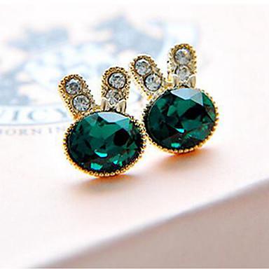 levne Dámské šperky-Dámské Peckové náušnice Rabbit Umělé diamanty Náušnice Šperky Tmavě zelená Pro Denní 1 Pair