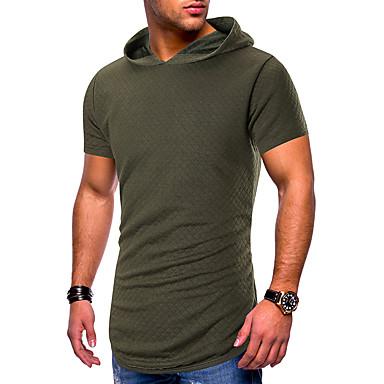 สำหรับผู้ชาย ขนาดของยุโรป / อเมริกา เสื้อเชิร์ต ฮู้ด สีพื้น สีดำ