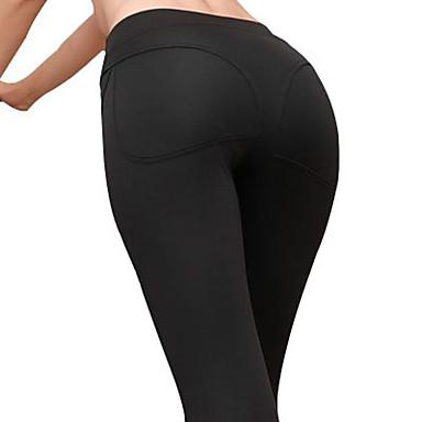สำหรับผู้หญิง สูงกว่าปกติ กางเกงโยคะ สีทึบ Modal Elastane วิ่ง การออกกำลังกาย ยิมออกกำลังกาย ถุงน่องการขี่จักรยาน ชุดทำงาน นุ่ม Butt Lift Tummy Control Power Flex ความยืดหยุ่นสูง สกินนี่