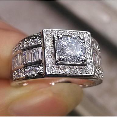 levne Pánské šperky-Pánské Zásnubní prsten Kubický zirkon 1ks Bílá Pozlaceno 18k Měď Geometric Shape stylové Zásnuby Denní Šperky Klasika Radost Cool