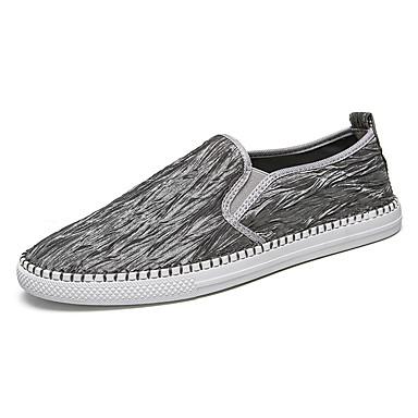 สำหรับผู้ชาย รองเท้าสบาย ๆ ผ้าใบ / ผ้ายืดหยุ่น ฤดูร้อน ไม่เป็นทางการ รองเท้าส้นเตี้ยทำมาจากหนังและรองเท้าสวมแบบไม่มีเชือก ไม่ลื่นไถล สีดำ / สีเทา
