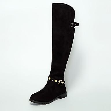 9a34306259b [$55.99] Women's Suede / Sheepskin Winter Boots Flat Heel Over The Knee  Boots Black