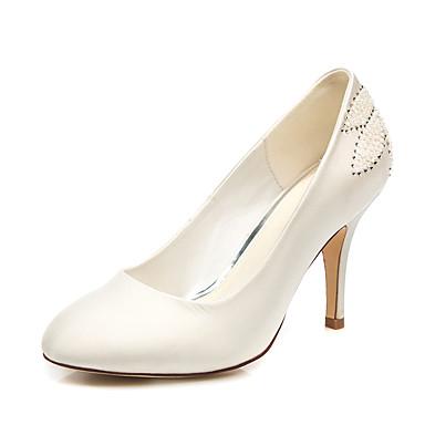 สำหรับผู้หญิง รองเท้าแต่งงาน ส้น Stiletto ปลายกลม เพิร์ลเทียม ซาติน minimalism ฤดูใบไม้ผลิ & ฤดูใบไม้ร่วง ขาว / งานแต่งงาน