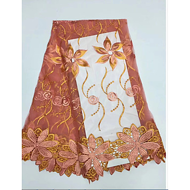 ลูกไม้แอฟริกัน ลวดลายดอกไม้ Pattern 120 cm ความกว้าง ผ้า สำหรับ เครื่องแต่งกายและแฟชั่น ขาย โดย 5Yard