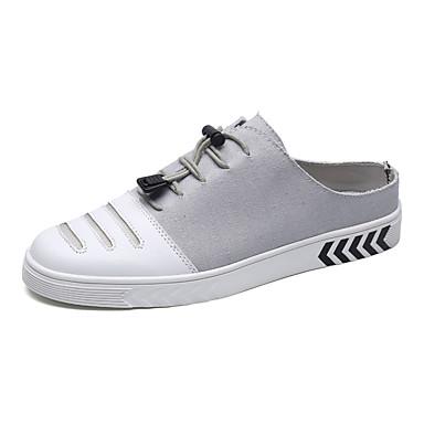 สำหรับผู้ชาย รองเท้าสบาย ๆ ผ้าใบ / PU ฤดูใบไม้ผลิ ไม่เป็นทางการ รองเท้าไม้ & รองเท้าหัวทู่ ไม่ลื่นไถล สีดำ / สีเทา / สีกากี