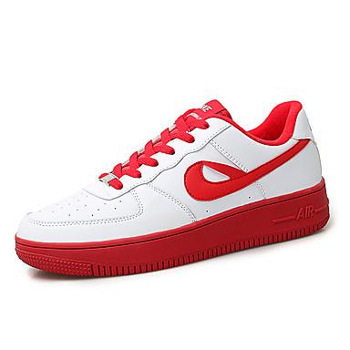 สำหรับผู้หญิง รองเท้าผ้าใบ ส้นแบน ปลายกลม PU ธุรกิจ / ไม่เป็นทางการ บาสเกตบอล / วสำหรับเดิน ตก / ฤดูร้อนฤดูใบไม้ผลิ สีน้ำตาล / ขาว / แดง