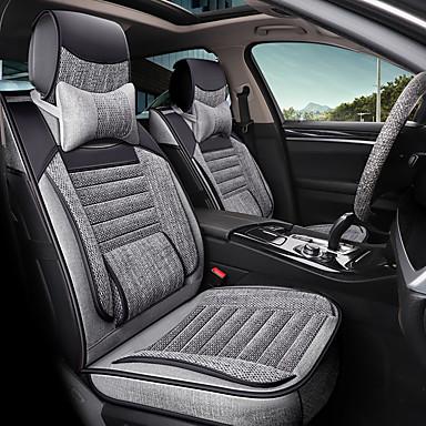 voordelige Auto-interieur accessoires-5 zitplaatsen met twee kussens, twee vaste heupkussens en één stuurhoes vier seizoenen universele autostoelhoes / airbagcompatibiliteit / verstelbaar en afneembaar
