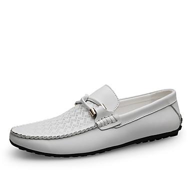 Ανδρικά Δερμάτινα παπούτσια Νάπα Leather Ανοιξη καλοκαίρι / Φθινόπωρο & Χειμώνας Δουλειά / Καθημερινό Μοκασίνια & Ευκολόφορετα Περπάτημα Μη ολίσθηση Λευκό / Μαύρο