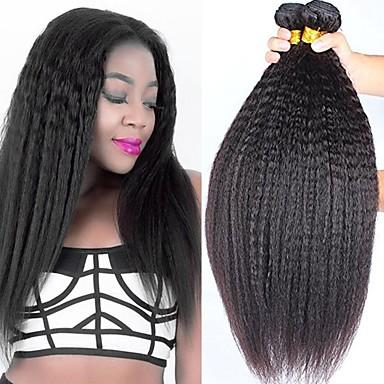 povoljno Ekstenzije od ljudske kose-4 paketića Peruanska kosa Yaki Straight Remy kosa Ljudske kose plete Bundle kose Ekstenzije od ljudske kose 8-28 inch Prirodna boja Isprepliće ljudske kose Odor Free Sexy Lady Najbolja kvaliteta