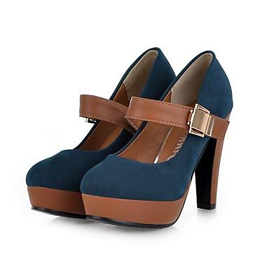 สำหรับผู้หญิง รองเท้าส้นสูง ส้นหนา หนังเทียม ฤดูร้อนฤดูใบไม้ผลิ สีดำ / ฟ้า / ทุกวัน