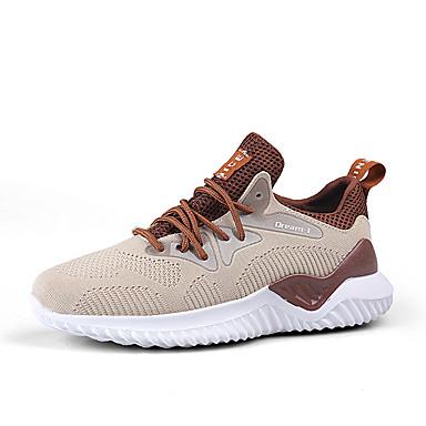 สำหรับผู้ชาย Light Soles ผ้าใบ ฤดูร้อน Sporty / ไม่เป็นทางการ รองเท้ากีฬา สำหรับวิ่ง / วสำหรับเดิน ระบายอากาศ สีดำ / สีน้ำตาลอ่อน / ขาว / การกรีฑา
